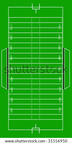 Scale Vector Illustration of an American football field. - stock vector