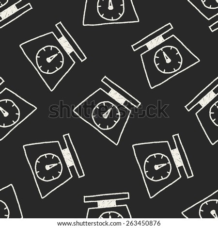 scale weight doodle drawing seamless pattern background