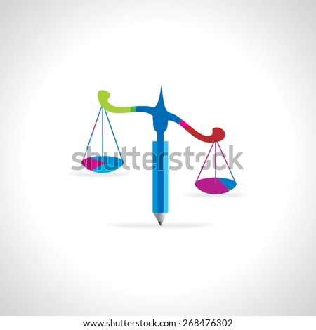scale with pencil idea concept justice vector illustration  - stock vector