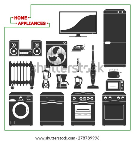 scaled monochromatic home appliances vector illustration modern style - Modern Home Appliances