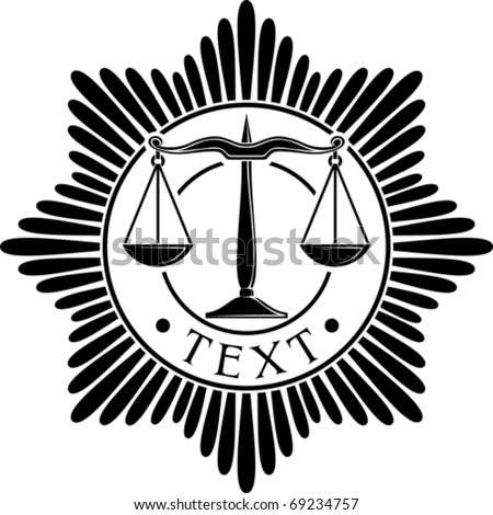 scales of justice badge (symbol, order, emblem) - stock vector