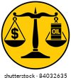 scales of justice balancing oil with the dollar (classic scales of justice with an oil barrel and dollar sign) - stock photo