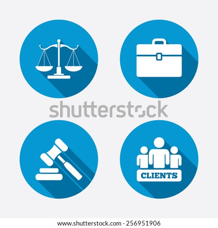 Scales of Justice icon. Group of clients symbol. Auction hammer sign. Law judge gavel. Court of law. Circle concept web buttons. Vector - stock vector