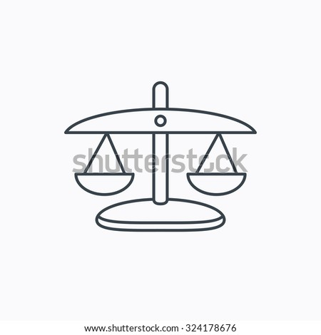 Scales of Justice icon. Law and judge sign. Measurement tool symbol. Linear outline icon on white background. Vector - stock vector