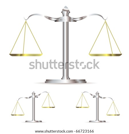 Scales of justice in level up and down position with gold chains - stock vector