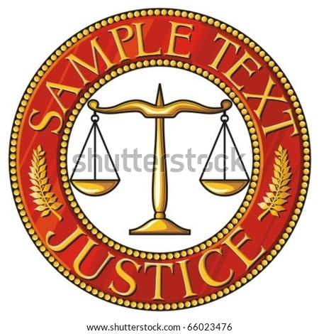 scales of justice seal (badge) - stock vector