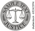 scales of justice seal (symbol) - stock vector