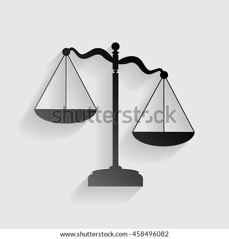 Scales of Justice sign. Black paper with shadow on gray background.
