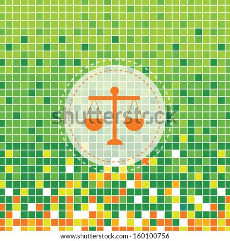 scales of justice symbol on green background - stock vector
