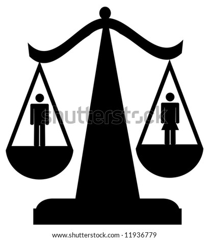 scales of justice with man and woman - sexual equality - stock vector