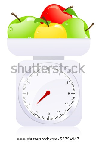 Scales with apples, vector illustration - stock vector