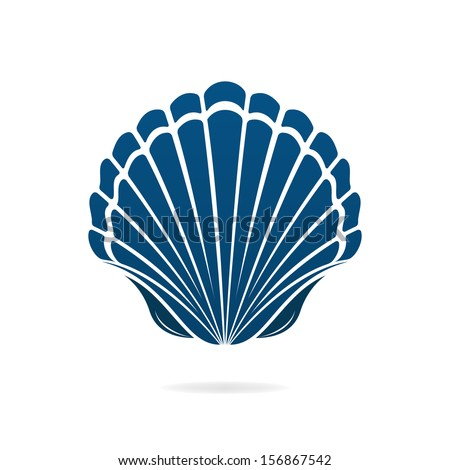 Scallop seashell of mollusks icon sign isolated vector illustration - stock vector