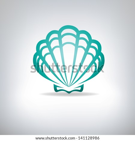 Scallop seashell. Vector.   - stock vector