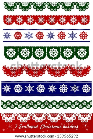 Scalloped Christmas Vector borders - stock vector