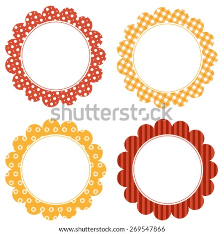 Scalloped frames with pattern and copy space - stock vector