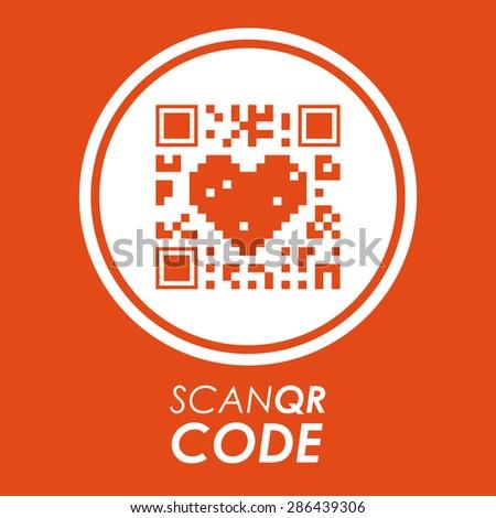 Scan QR Code design over orange background, vector illustration - stock vector