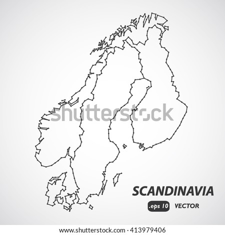 Stylized Low Poly World Map Concept Stock Vector - Norway map drawing