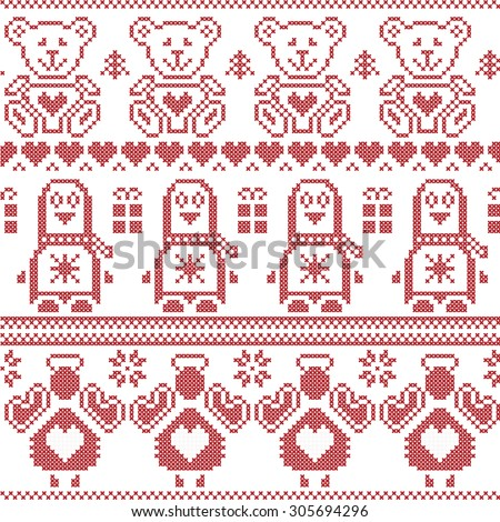 Scandinavian Christmas  Nordic seamless pattern with penguin, angel, teddy bear, Xmas gifts, hearts, decorative ornaments, Christmas trees in red cross stitch   - stock vector