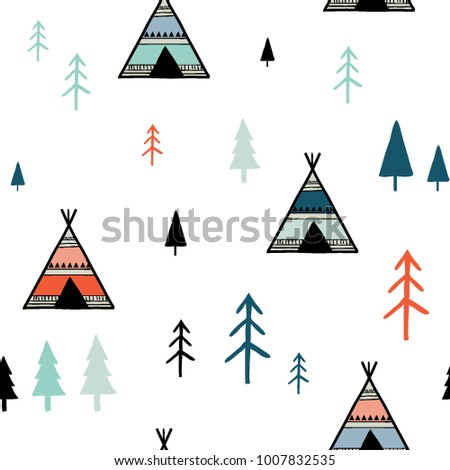 Scandinavian colorful geometric seamless pattern. Simple minimalist trees and tents. Cartoon hand drawn Vector  sc 1 st  Shutterstock & Scandinavian Colorful Geometric Seamless Pattern Simple Stock ...