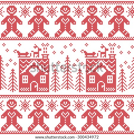Scandinavian Nordic Christmas  seamless pattern with ginger bread, stars, snowflakes, ginger house, trees, xmas  gifts, reindeer, sleigh, snow in red cross stitch    - stock vector