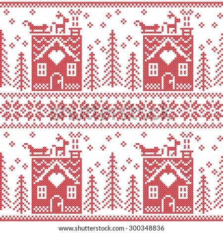 Scandinavian Nordic Christmas seamless  pattern with gingerbread house, snow, reindeer, Santa's  sleigh, trees, star, snow, Xmas gift, snowflakes in red cross stitch   - stock vector