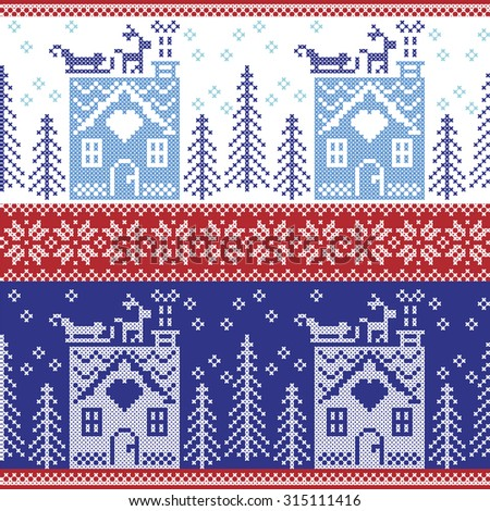 Scandinavian Nordic Christmas seamless  pattern with gingerbread house, snow, reindeer, Santa's  sleigh, trees, star, snow, Xmas gift, snowflakes in dark and light blue cross stitch   - stock vector