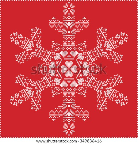 Scandinavian Nordic winter cross stitching, knitting  christmas pattern in  in  snowflake shape , with cross stitch frame including snow hearts, stars, decorative elements in white on red  background  - stock vector