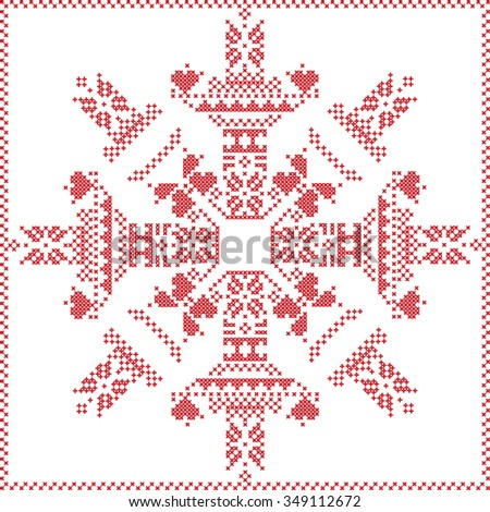 Scandinavian Nordic winter stitch, knitting  christmas pattern in  in  snowflake shape , with cross stitch frame including , snow, stars, decorative elements in red on white background  - stock vector
