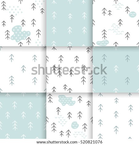 Scandinavian pattern with fir trees. Seamless winter patterns, hand drawn in black ink. Perfect for gift wrapping or printing on fabric. Seamless minimal christmas pattern.