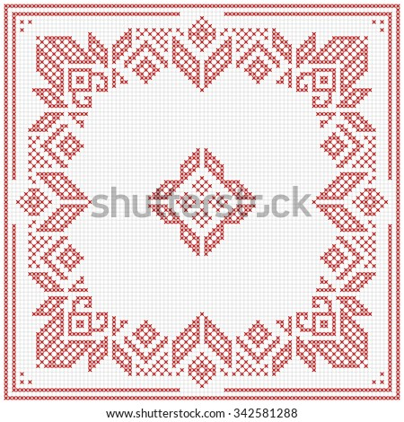 Scandinavian Style Cross Stitch Pattern Traditional Stock Vector