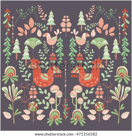 Scandinavian style illustration floral and animal.