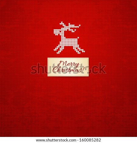 Scandinavian style knitted background with deer - stock vector