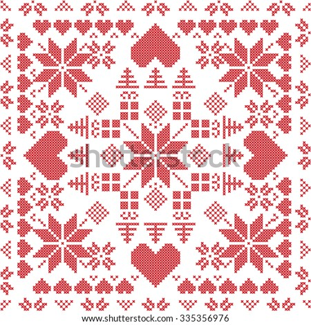 Scandinavian style Nordic winter stich , knitting seamless pattern in the square shape including snowflakes, xmas gifts, xmas trees, hearts and  Decorative elements in red  - stock vector