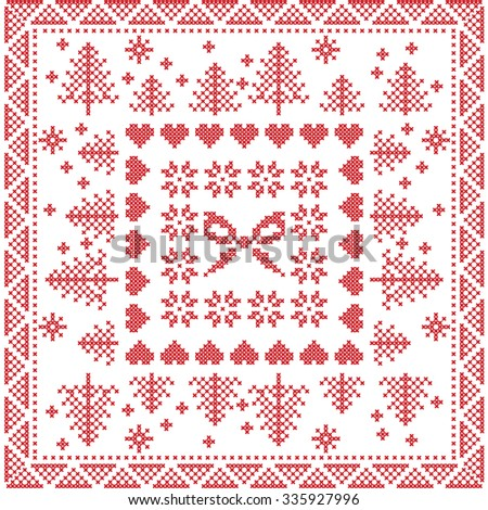 style nordic winter stitch knitting pattern in the square tile shape including snowflakes