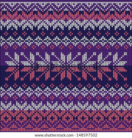 Scandinavian style seamless knitted pattern. Colors: blue, white, pink, violet - stock vector