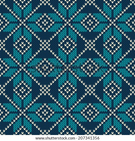 Scandinavian style seamless knitted pattern. Knitted wool texture. - stock vector