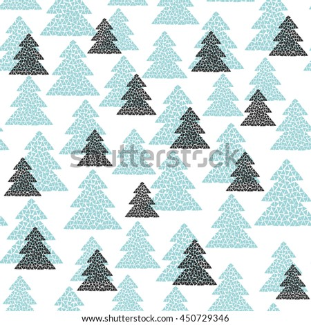 Scandinavian style seamless pattern of black and turquoise fir trees. Simple geometric mosaic Happy New Year background. Vector illustration for winter or Christmas design. - stock vector
