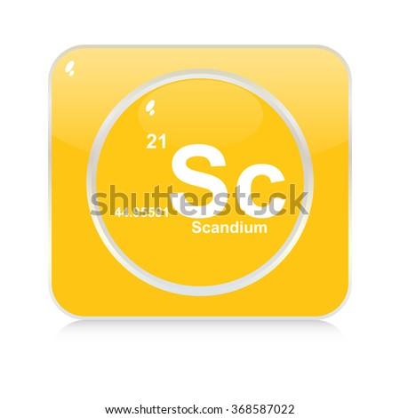 scandium chemical element button - stock vector