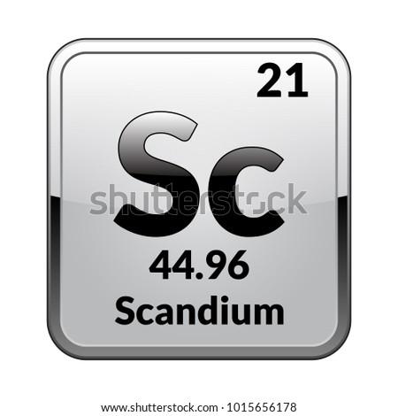 Scandium Symbol Chemical Element Periodic Table On Stock Vector