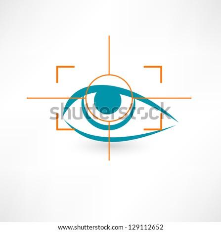 Scanning eye icon - stock vector