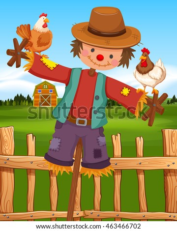 Scarecrow and chickens on the farm illustration