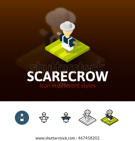 Scarecrow color icon, vector symbol in flat, outline and isometric style isolated on blur background