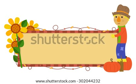 Scarecrow Fall Banner - Festive autumn banner with scarecrow, pumpkins and flowers. Eps10
