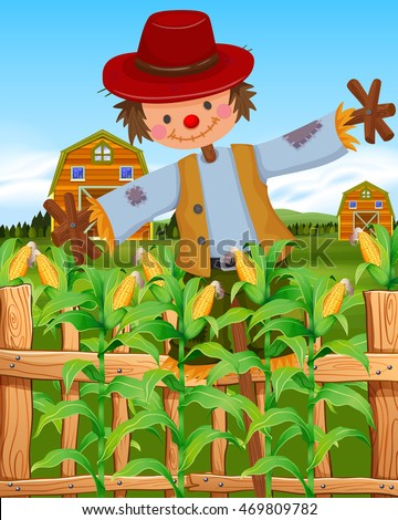 Scarecrow in the corn field illustration