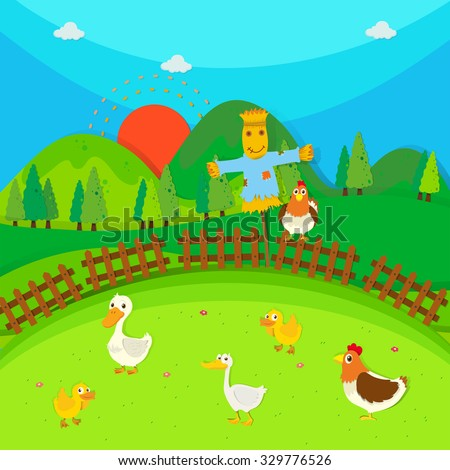 Scarecrow in the field full of ducks and chicken illustration