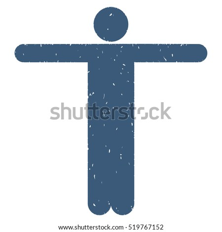Scarecrow Pose grainy textured blue icon for overlay watermark stamps. Flat symbol with scratched texture. Dotted vector ink rubber seal stamp with grunge design on a white background.