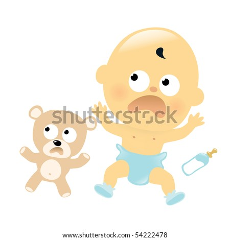 Scared baby and teddy bear - stock vector
