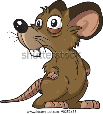 Scared Brown Mouse Vector Illustration, Isolated on White Background - stock vector