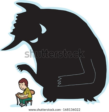 Scared child at desk with giant monster shadow - stock vector