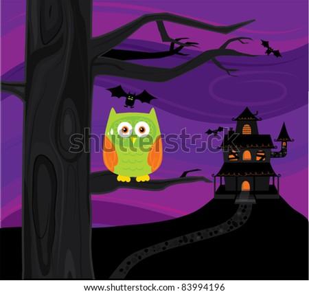 scared owl - stock vector